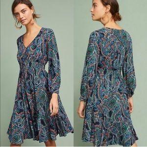 Anthropologie Maeve Maplewood Neon Paisley Dress